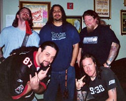 image of fear factory backstage